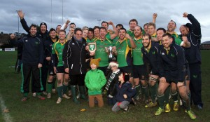 Dorset & Wilts RFU Senior County Cup Final winners North Dorset who overcame Marlborough by 17 points to 16 at Salisbury on Saturday. The Twin Counties president John Constable front row left presents team captain Stacy Dyer with the winners trophies https://idrismartin.wordpress.com/