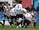Former Terra Nathan Walker extreme right celebrates with his team mates after stabbing the ball into the back of the home net to put the Magpies into a one nil lead at the Bob Lucas Stadium. https://idrismartin.wordpress.com/