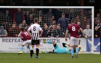 Terras striker Chris Sheppard 11 blasts the ball into the back of the Magpies net for the Terras equaliser at the Bob Lucas Stadium from a penalty. https://idrismartin.wordpress.com/