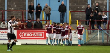 The Terras players celebrate Chris Sheppard's equaliser at the Bob Lucas Stadium in front of some of the Magpies visiting fans. https://idrismartin.wordpress.com/