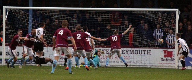 Striker Stuart Yetton second left turns away after netting for the Terras to put them into a 2 - 1 half time lead at the Bob Lucas Stadium. https://idrismartin.wordpress.com/
