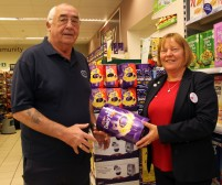 Left Weymouth & Portland RFC Chairman Ian McMillan with Pat Bates Tesco Metro Commmunity Champion who supplied the mini & youth section of the club with 30 Easter Eggs for their Easter Sunday Egg Hunt at their Monmouth Avenue complex. https://idrismartin.wordpress.com/