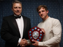 First xv captain Kevin Leatham (left) presents with the Top Try Scorer Shield to Joel Wilson.