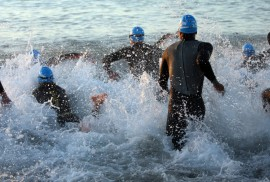 Over 2700 competitors entered the Weymouth Iron Man Challenge professional & amateur with a crowd of supporters almost as large. The professional men enter the water. https://idrismartin.wordpress.com/