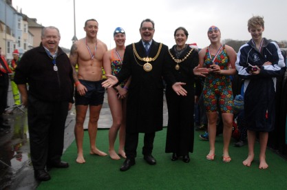 Some of the Competitors in the annual Christmas Day Weymouth Lions Club Harbour Swim with the Mayor & Mayoress of Weymouth & Portland.