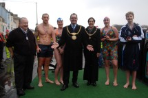 Some of the Competitors in the annual Christmas Day Weymouth Lions Club Harbour Swim with the Mayor & Mayoress of Weymouth & Portland. https://idrismartin.wordpress.com/