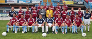 Front row left to right. Steve Clarke; Steve Tulley; Wane Purser; Kevin Hales, first team coach; Gary Hill, manager; Richie Hamlon; Darren Wheeler; Kirk Jackson; Chris O'Donavan, kit manager: Second row left to right. Roger Hore, Sports therapist; Adam Wilde; Shaun Wilkinson; Tony Taggart; Aaron Lee-Barrett; Jason Matthews; Ian Hutchinson; Andy Harris; Shaun Carey; Trevor Challis: Back row left to right. Chukki Eribienne; Roy O'Brien; Brian Dutton; Matt Bown, captain; Daniel Webb; Bradley Thomas: