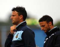 Weymouth v Yeovil Pre Season Friendly. Left of picture Weymouth first team head coach Tom Prodomo. Right of picture Weymouth first team goalkeeping coach Joe Prodomo. https://idrismartin.wordpress.com/
