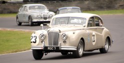 HRDC Coombs Heritage Trust competitor Graham Love in his 1956 Mk 7 Jaguar 23 at Quarry Corner on Sunday.