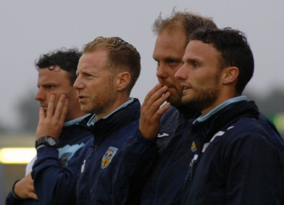 Weymouth v Yeovil Pre Season Friendly. Weymouth first team management team. Left to right. Head coach Tom Prodomo, Manager Mark Molesley, Assistant manager Paul Maitland, Goalkeeping coach Joe Prodomo. https://idrismartin.wordpress.com/