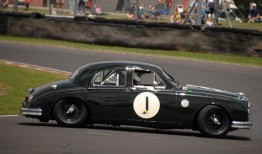 HRDC Coombs Heritage Trust competitor Michael Squire spins his 1958 Mk 1 Jaguar at Quarry Corner on Sunday.