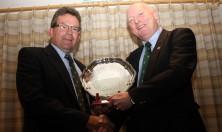 Dorset & Wilts RFU A G M @ Salisbury RFC Wednesday 26/07/2017.Left Dorset & Wilts retiring President John Constable hands over the Salver of office after 3 successful years to his successor Stuart Murrow.