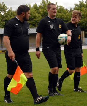 Referee Ashley Hallett centre with his two assistants at the Avenue Stadium Dorchester https://idrismartin.wordpress.com/