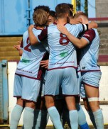 Man Love Rules. Somewhere in this huddle is Terras winger Charlei Davis scorer of the Terras opener.