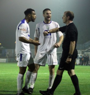 The Basingstoke players surrond referee Colin Hubbard after he awarded a late penalty to Weymouth that Brandon Goodship duly converted to snatch victory for the Terras https://idrismartin.wordpress.com/
