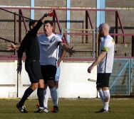 Town's striker John Ferndo is red carded by referee Alexander Fisher for decsent. https://idrismartin.wordpress.com/