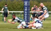 Dorset & Wilts green & white strip. Andy Twinney of Trowbridge rfc touches down for a try. https://idrismartin.wordpress.com/